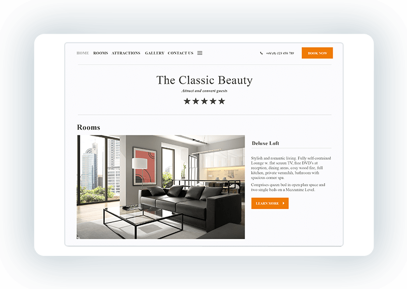 Hotel website template - Classic
