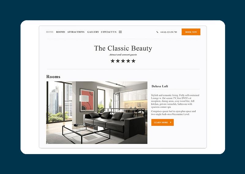 Hotel website template - Classic