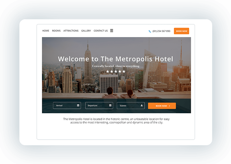 Hotel website template - Metropolis