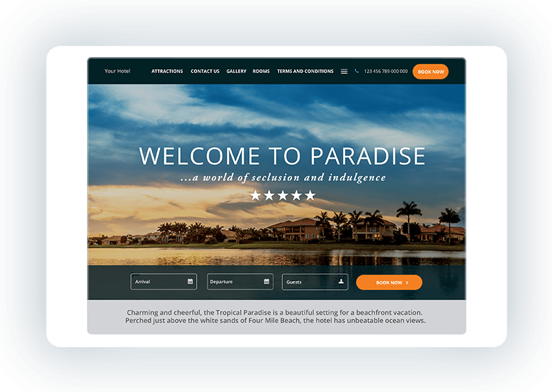 Hotel website template - Tropical